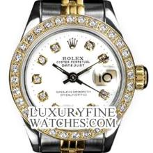 Rolex Ladies 2Tone 14K Gold/ Stainless Steel, Diamond Dial & Diamond Bezel, Saph Crystal - REF#321A8M