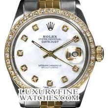 Rolex Ladies 2Tone 14K Gold/ Stainless Steel, Diamond Dial & Diamond Bezel, Saph Crystal - REF#327F3W