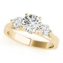 Genuine 1.25 CTW Certified Diamond 3 Stone Bridal Ring 18K Yellow Gold - 28001-REF#194R8Z