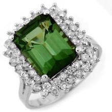 Natural 4.75 ctw Green Tourmaline & Diamond Ring 18K White Gold - 11698-#115N3F