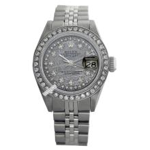 Rolex Ladies Stainless Steel, Diamond Dial & Diamond Bezel, Saph Crystal - REF#349J3Y