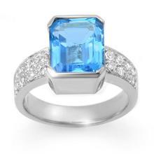 Genuine 7.26 ctw Blue Topaz & Diamond Ring 18K White Gold - 13857-#88F2M