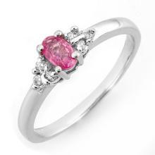 Natural 0.44 ctw Pink Sapphire & Diamond Ring 10K White Gold - 10798-#16K7T
