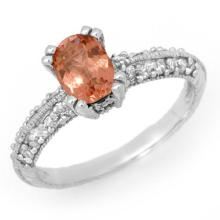Natural 1.55 ctw Pink Tourmaline & Diamond Ring 14K White Gold - 13708-#49X3Y
