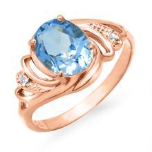 Genuine 2.53 ctw Blue Topaz & Diamond Ring 14K Rose Gold - 12667-#22Y5V