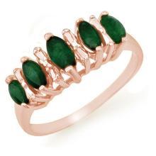 Natural 0.70 ctw Emerald Ring 10K Rose Gold - 12654-#16P2X