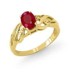 Natural 1.02 ctw Ruby & Diamond Ring 10K Yellow Gold - 13010-#14A5N