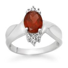 14K White Gold Jewelry 1.61 ctw Garnet & Diamond Ring - SKU#U14L2- 90153-14K