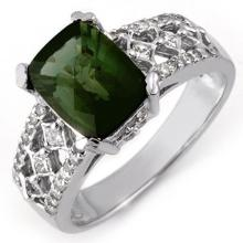 18K White Gold Jewelry 3.0 ctw Green Tourmaline & Diamond Ring - SKU#U53J8- 1946- 18K
