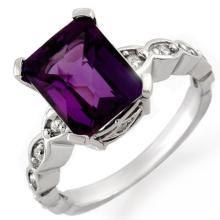 18K White Gold Jewelry 4.25 ctw Amethyst & Diamond Ring - SKU#U33V8- 1216- 18K