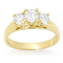 14K Yellow Gold Jewelry 1.0 ctw 3Stone Diamond Bridal Ring - SKU#U74X6- 90269-14K