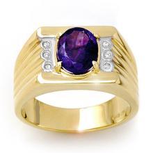 18K Yellow Gold Jewelry 2.56 ctw Tanzanite & Diamond Men's Ring - SKU#U105H9- 90849- 18K