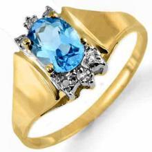 14K Yellow Gold Jewelry 1.03 ctw Blue Topaz & Diamond Ring - SKU#U11S2- 90457-14K