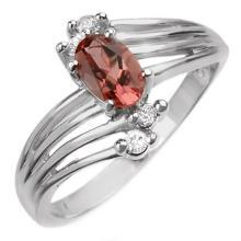 10K White Gold Jewelry 0.65 ctw Pink Tourmaline & Diamond Ring - SKU#U12L5- 1025- 10K