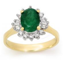 14K Yellow Gold Jewelry 1.18 ctw Emerald & Diamond Ring - SKU#U32A7- 99066-14K