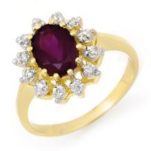 14K Yellow Gold Jewelry 1.19 ctw Amethyst & Diamond Ring - SKU#U16Z3- 99530-14K
