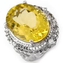 18K White Gold Jewelry 16.15 ctw Lemon Topaz & Diamond Ring - SKU#U59T1- 1357- 18K