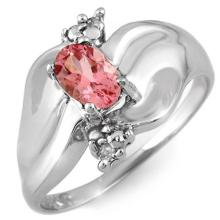 14K White Gold Jewelry 0.54 ctw Pink Tourmaline & Diamond Ring - SKU#U15T6- 1707-14K