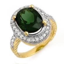 18K Yellow Gold Jewelry 6.05 ctw Green Tourmaline & Diamond Ring - SKU#U89M9- 1570- 18K