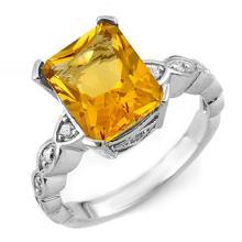 14K White Gold Jewelry 4.25 ctw Citrine & Diamond Ring - SKU#U26H3- 1466-14K