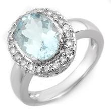 10K White Gold Jewelry 3.4 ctw Aquamarine & Diamond Ring - SKU#U46O3- 1697- 10K