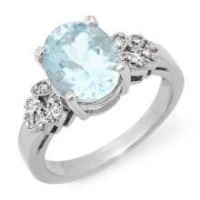 10K White Gold Jewelry 2.75 ctw Aquamarine & Diamond Ring - SKU#U28R5- 1341- 10K