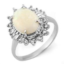10K White Gold Jewelry 3.45 ctw Opal & Diamond Ring - SKU#U31Q4- 1868- 10K