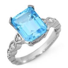 14K White Gold Jewelry 5.25 ctw Blue Topaz & Diamond Ring - SKU#U27M1- 1304-14K