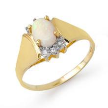 18K Yellow Gold Jewelry 0.53 ctw Opal & Diamond Ring - SKU#U16J2- 90490- 18K