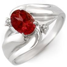18K White Gold Jewelry 1.02 ctw Pink Tourmaline & Diamond Ring - SKU#U21X8- 1464- 18K