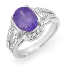 14K White Gold Jewelry 3.5 ctw Tanzanite & Diamond Ring - SKU#U63P5- 99826-14K