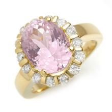 18K Yellow Gold Jewelry 7.65 ctw Kunzite & Diamond Ring - SKU#U91A9- 1701- 18K