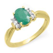 18K Yellow Gold Jewelry 0.96 ctw Emerald & Diamond Ring - SKU#U19A7- 99006- 18K