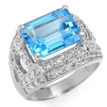 18K White Gold Jewelry 6.50 ctw Blue Topaz & Diamond Ring - SKU#U52U5- 1233- 18K