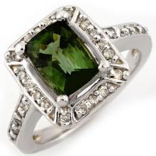 14K White Gold Jewelry 2.40ct Green Tourmaline & Diamond Ring - SKU#U35H6- 1511-14K