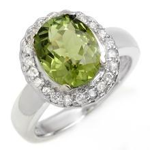 14K White Gold Jewelry 3.4 ctw Green Tourmaline & Diamond Ring - SKU#U55L1- 1250-14K
