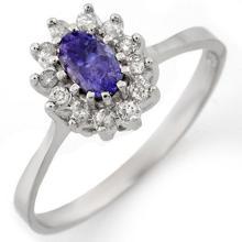 10K White Gold Jewelry 0.60 ctw Tanzanite & Diamond Ring - SKU#U11W6- 1411- 10K