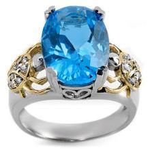 18K White Gold Jewelry 8.20 ctw Blue Topaz & Diamond Ring - SKU#U51K2- 1312- 18K