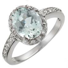 18K White Gold Jewelry 2.15 ctw Aquamarine & Diamond Ring - SKU#U29G7- 1458- 18K