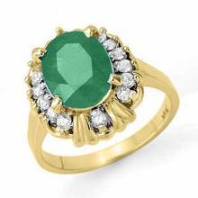 18K Yellow Gold Jewelry 3.08 ctw Emerald & Diamond Ring - SKU#U47R4- 90615- 18K