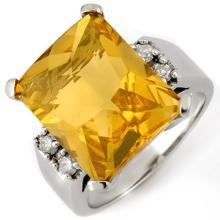 10K White Gold Jewelry 10.88 ctw Citrine & Diamond Ring - SKU#U32P6- 1210- 10K