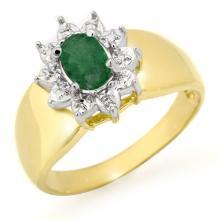 10K Yellow Gold Jewelry 0.50 ctw Emerald Ring - SKU#U9Y9- 90737- 10K