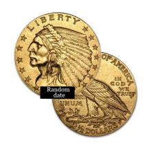 $2.5 Indian Gold Coin - Quarter Eagles - 1908 to 1929 - Random date  - REF#CRH7351