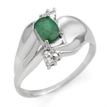 10K White Gold Jewelry 0.39 ctw Emerald & Diamond Ring - SKU#U11Z1- 1941- 10K