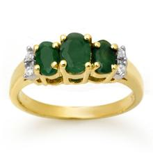 10K Yellow Gold Jewelry 1.08 ctw Emerald & Diamond Ring - SKU#U12G5- 99077- 10K