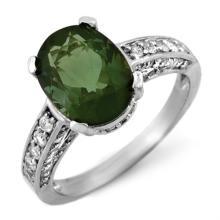 18K White Gold Jewelry 3.6 ctw Green Tourmaline & Diamond Ring - SKU#U53N8- 1214- 18K