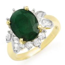 18K Yellow Gold Jewelry 3.27 ctw Emerald & Diamond Ring - SKU#U61N8- 90698- 18K