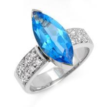 18K White Gold Jewelry 4.12 ctw Blue Topaz & Diamond Ring - SKU#U48G2- 99146- 18K