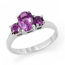 18K White Gold Jewelry 0.85 ctw Amethyst Ring - SKU#U14V4- 90600- 18K
