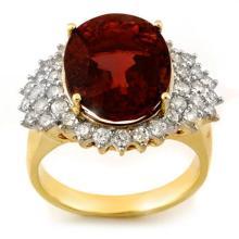 18K Yellow Gold Jewelry 9.18 ctw Pink Tourmaline & Diamond Ring - SKU#U98W2- 1457- 18K